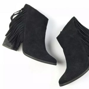 Arturo Chiang black suede fringe heeled boots …